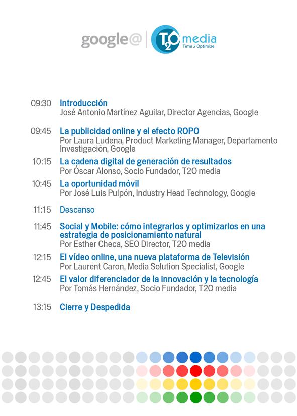 Agenda evento Google y T2O media