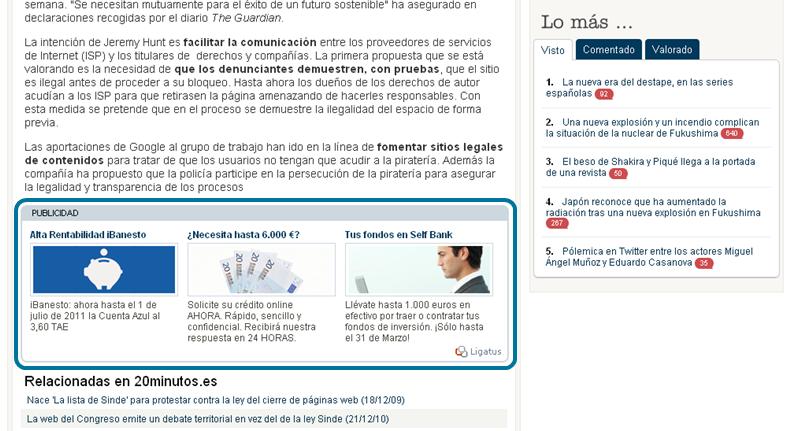 Ejemplo anuncio Ligatus en 20 minutos.es